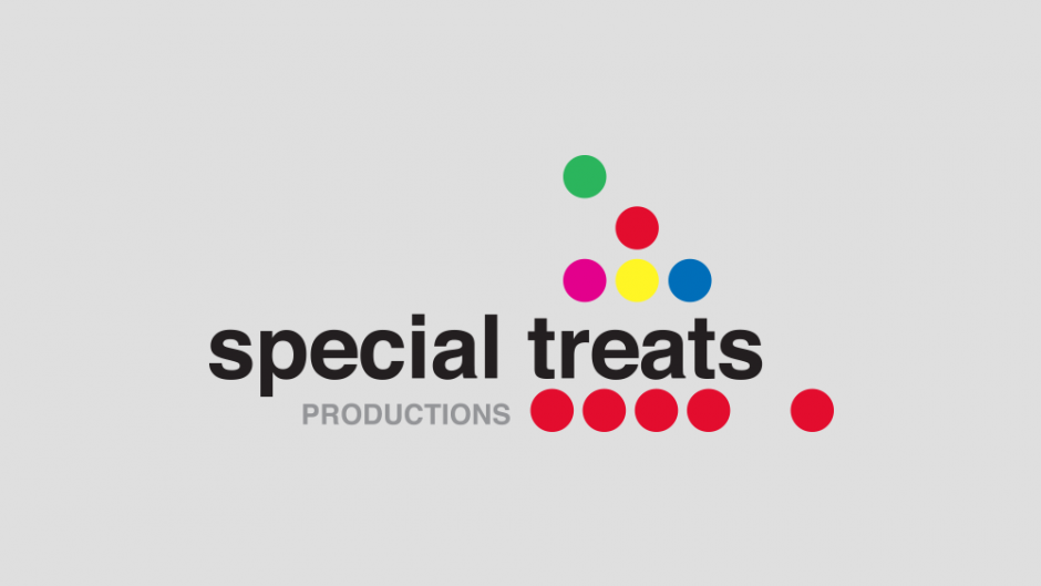 Special Treats productions logo on grey background