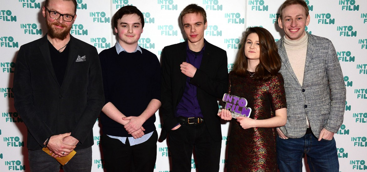 Simon Pegg with students from the National Film and Television School