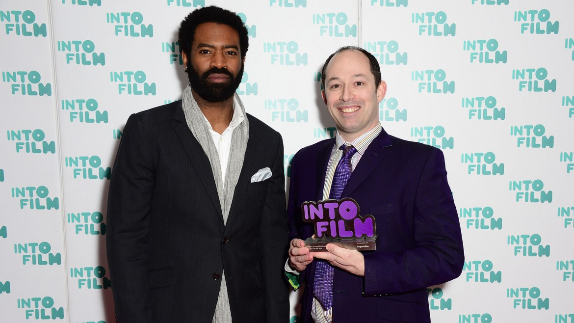 Simon Pile with Nicholas Pinnock at the Into Film Awards
