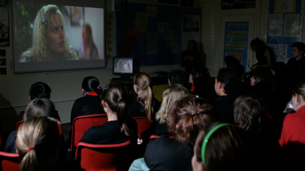 Queens Park School pupils watching film