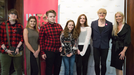 Students with Eddie Izzard at Swansea event