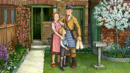 Ethel, Ernest and Raymond Briggs in the garden.