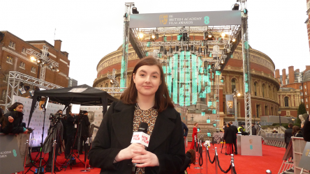 Young reporter Laura at the 50th BAFTA awards