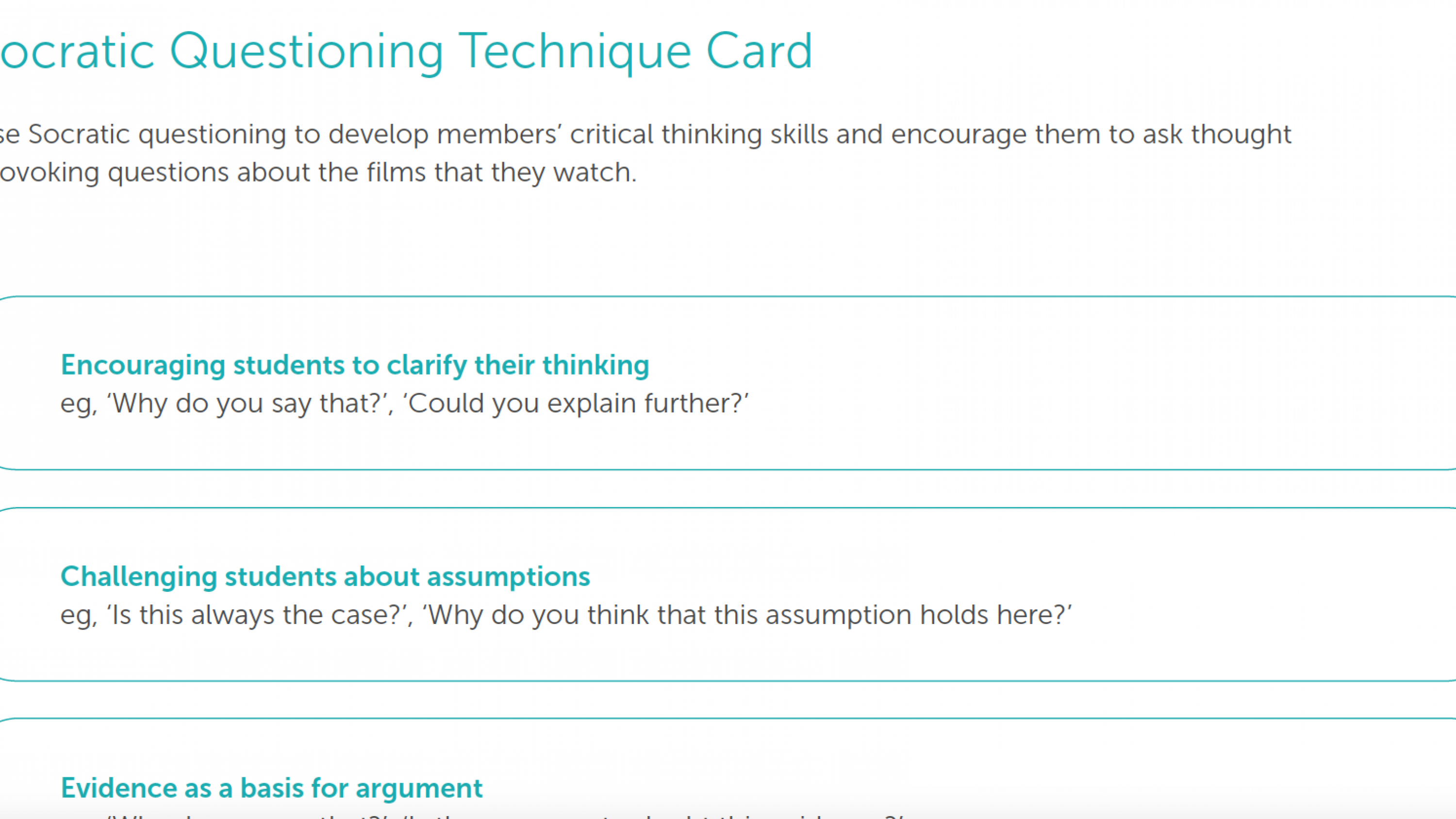 Examples of socratic questioning types.