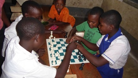 Ugandan school playing chess
