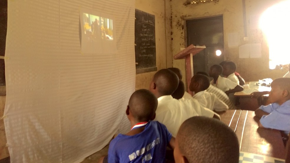 Ugandan school film watching
