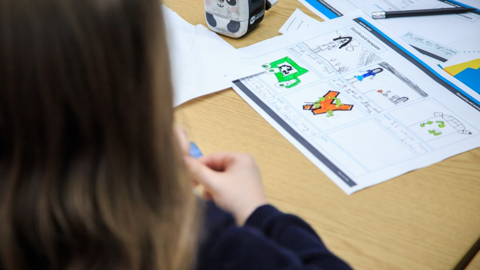 This image shows a pupil and a storyboard.