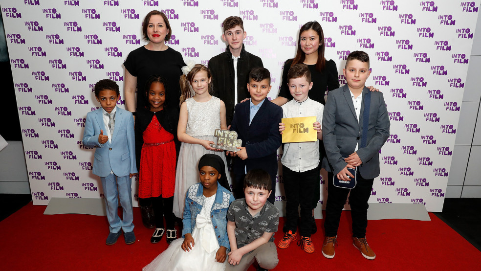 Film Club of the Year: 12 and Under winners with presenters and sponsor.