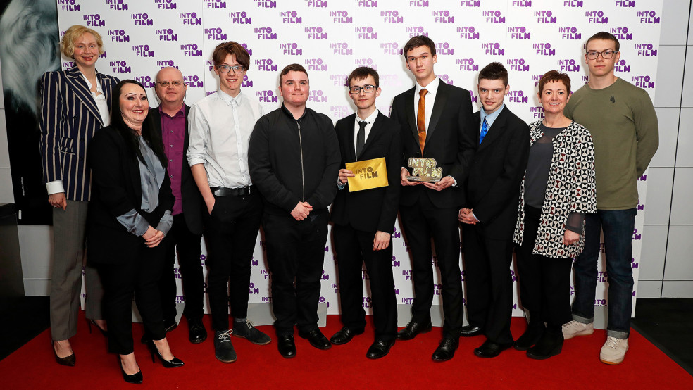 Film Club of the Year: 13 and Over winners, with presenters.