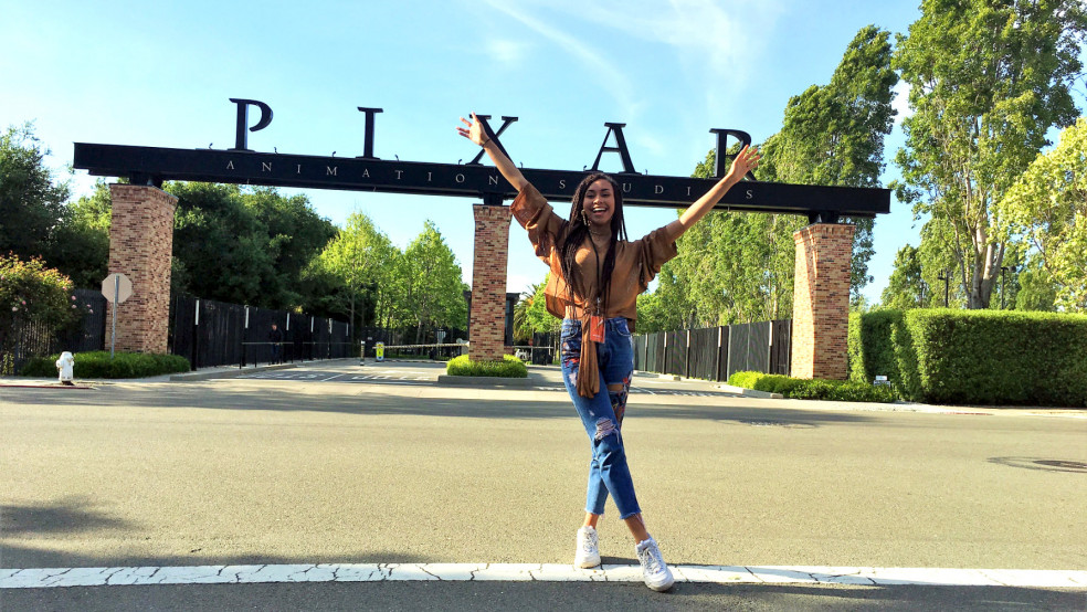 Annabella at the gates of Pixar Studios, San Francisco