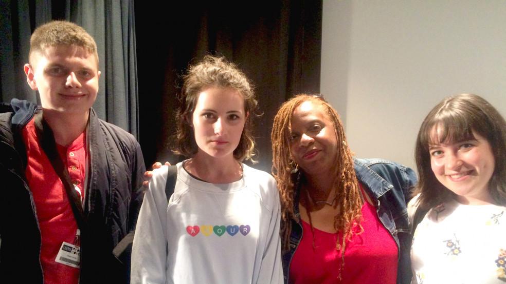 Owain, Lola, Eleanor with director Leslie Harris