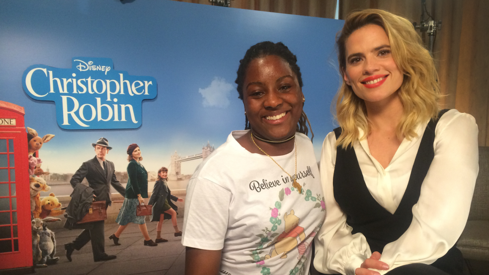 Imoleayo with Hayley Atwell at the Christopher Robin Junket