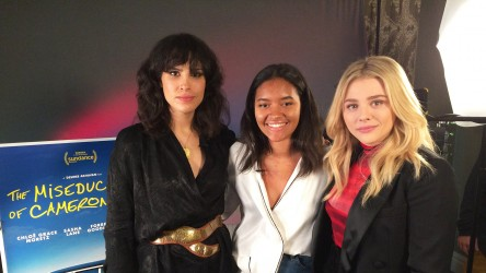 Desiree Akhavan and Chloë Grace Moretz with Into Film reporter Amina