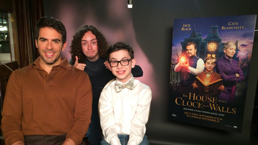Reporter Ben P with Eli Roth and Owen Vaccaro