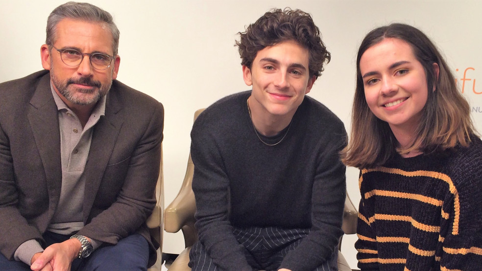 Reporter Alexa with Steve Carell and Timothee Chalamet