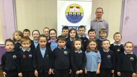Belleek Primary film club with leader Kevin Beattie