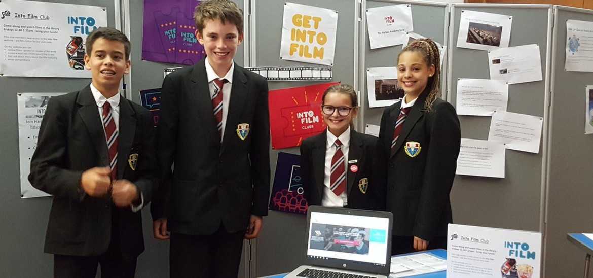 Members of Harlaw Academy Into Film Club hosting a stall to promote club