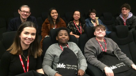 Into Film CEO Paul Reeve and young reporters at the BBFC panel event
