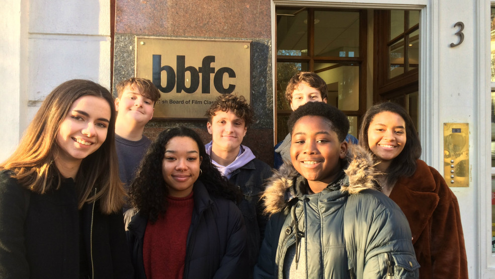 Into Film's young reporters outside the BBFC