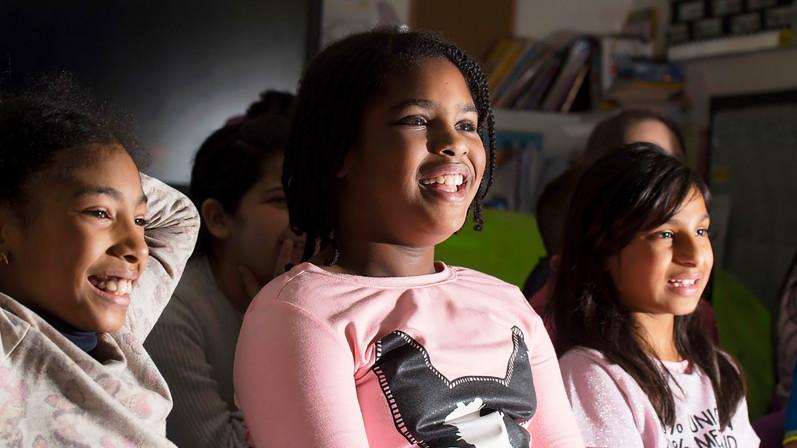 Children watching film (Anson Primary)