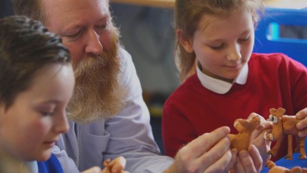 Industry expert works with pupils to create clay animation models