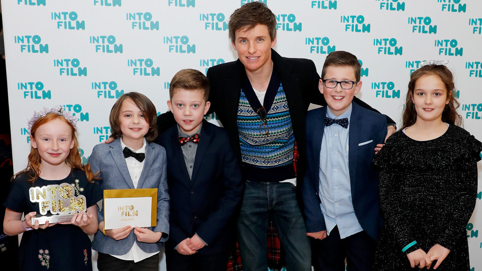 Best Film: 11 and Under winners Hornsea Primary School, with Eddie Redmayne