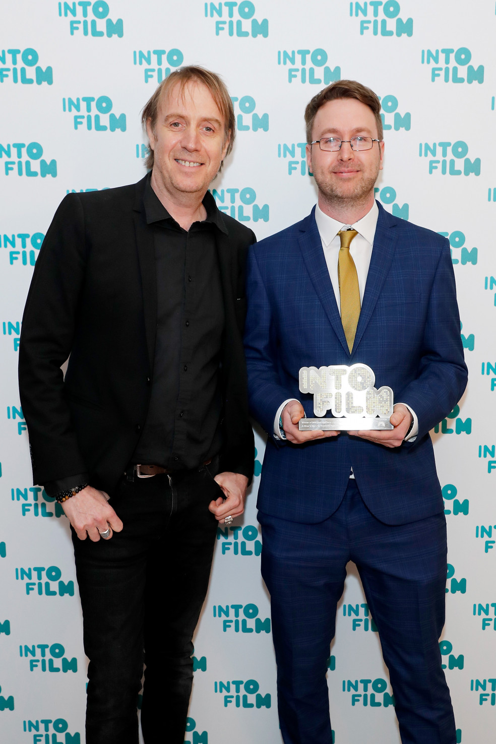 Teacher of the Year winner Rhys Roberts with actor Rhys Ifans
