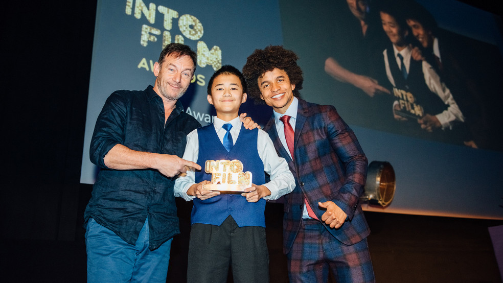 Into Film Club Member of the Year winner with Radzi and actor Jason Isaacs