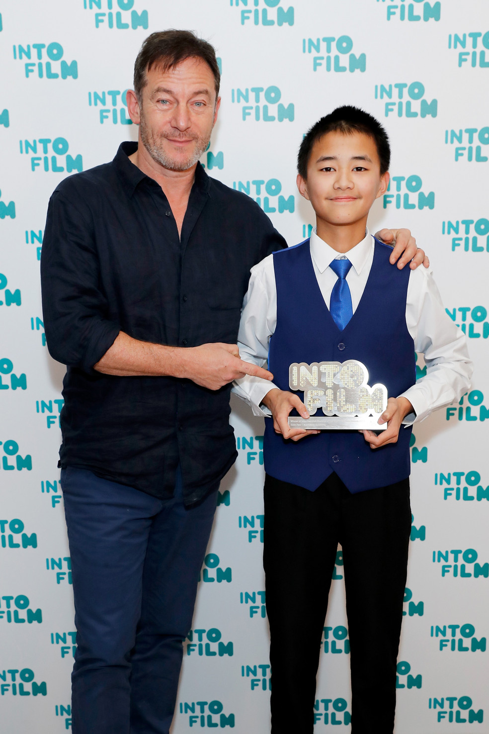 Into Film Club Member of the Year winner Euan with actor Jason Isaacs