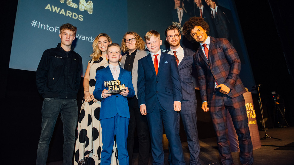 Best Film: 16-19 winners with Radzi, Tom Taylor and Lily James