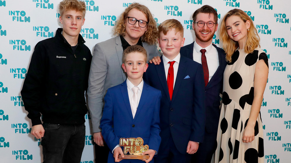 Best Film: 16-19 winners with actor Tom Taylor and Actress Lily James
