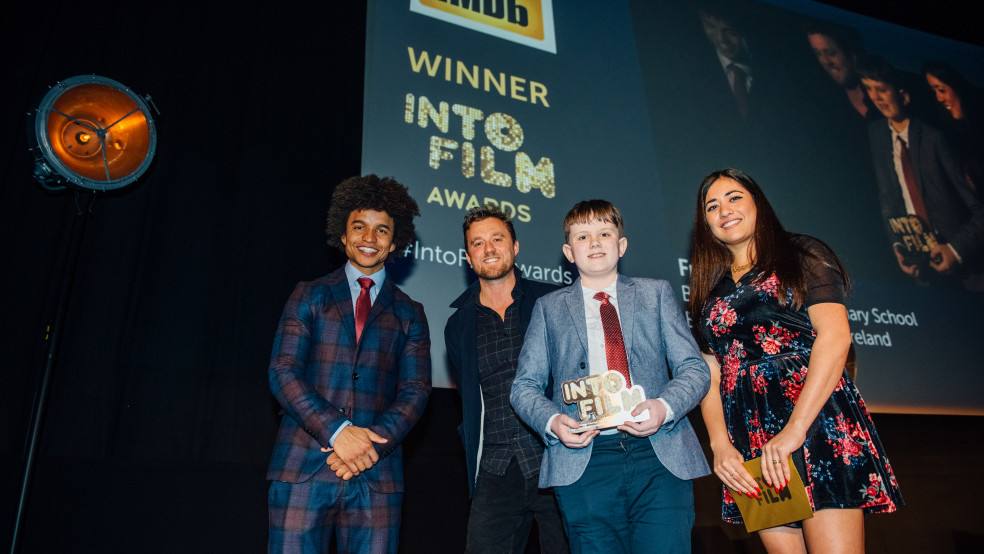 Winner Frankie with Radzi, director Michael Pearce & critic Rhianna Dhillon