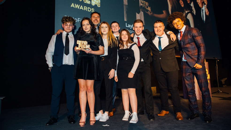 Best Film: 12-15 winners on stage with host Radzi and David Walliams