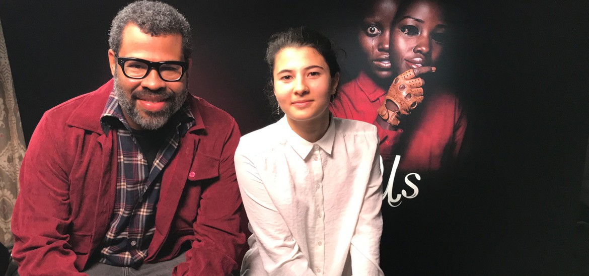 'Us' writer and director Jordan Peele and reporter Eden