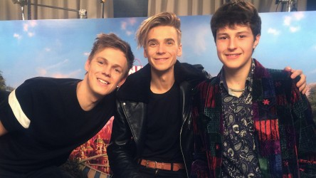 Wonder Park actors Caspar Lee and Joe Sugg with reporter Jake