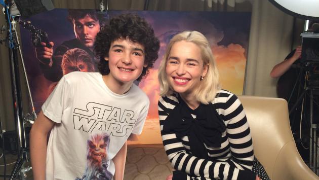 Into Film reporter Archie with Emilia Clarke