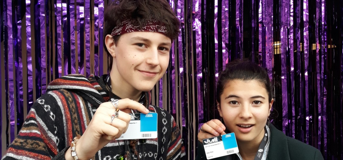 Young Reporters Jake and Eden at BFI Flare Festival 2019