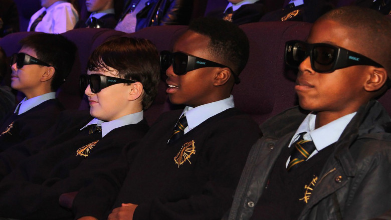 Into Film Festival attendees with 3D glasses