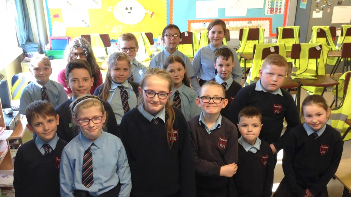 Club members of Parkhall Primary School in Antrim, in Northern Ireland