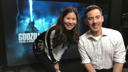 Reporter Emilie with Godzilla director Michael Dougherty