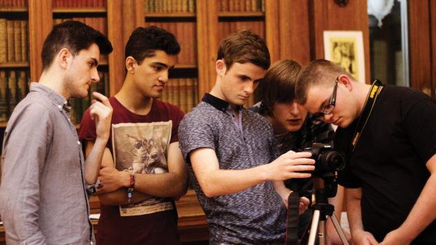 Five boys behind the camera