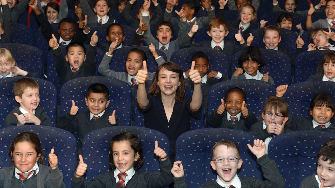Carey Mulligan with students at the Into Film Festival launch