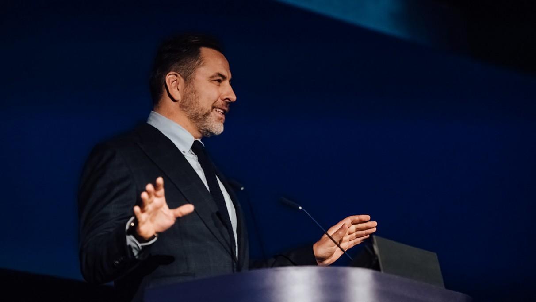 David Walliams presents an award at the 2019 Into Film Awards