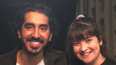 Young Reporter Eleanor with actor Dev Patel
