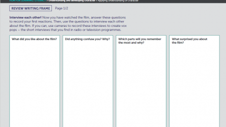 Review writing frame