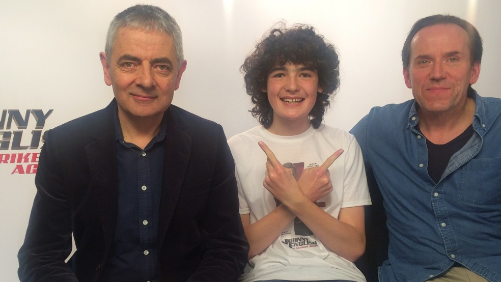 Archie with Rowan Atkinson and Ben Miller - for his HE article