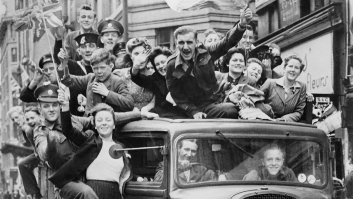 A crowd celebrating in London
