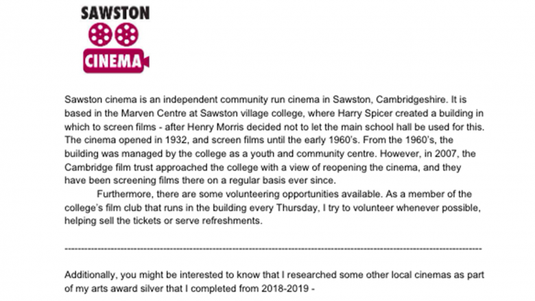 Youth Advisory Council Member William (14) - Sawston Cinema, England