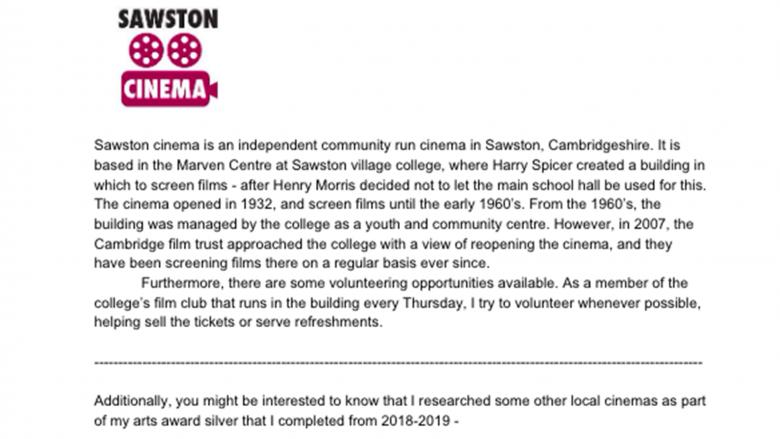 Youth Advisory Council Member William (14) - Sawston Cinema, England