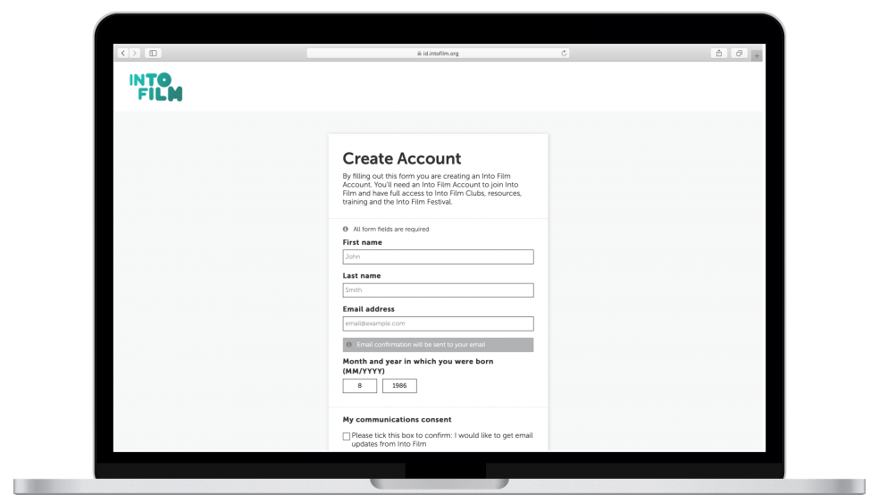Create account fields - name and email